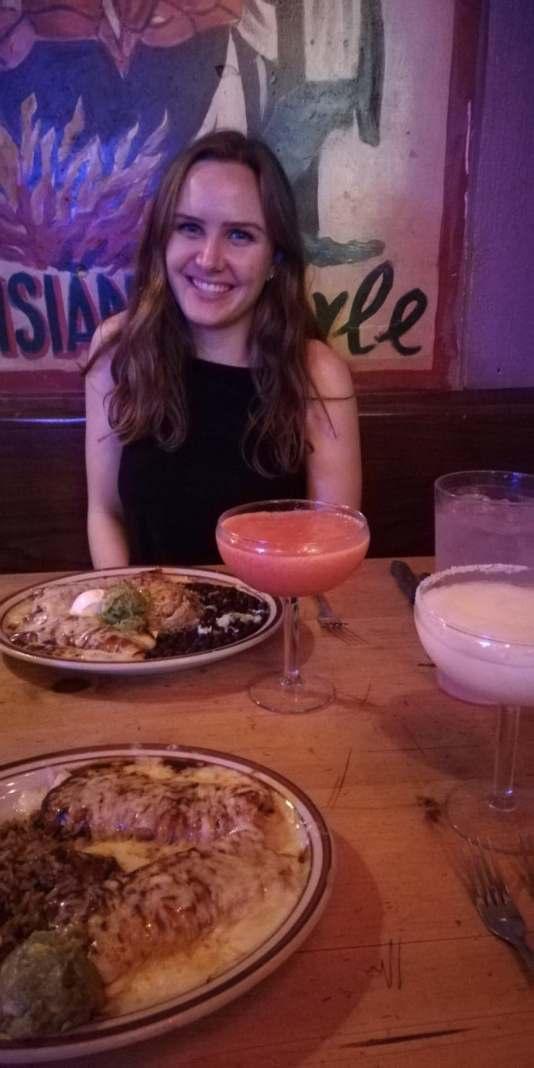 Audrey & I having enchiladas in Boston